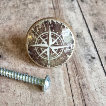 Handmade Compass Birch Wood Knob Drawer Pulls, Distressed Style Nautical Cabinet Pull Handles, Sea Dresser Knobs, We Make Customized Orders