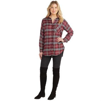 Burgundy Plaid Rocky Button Down Shirt by Mud Pie