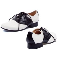 Womens Cute Saddle Shoes Black White Theatre Costumes Accessory 1 Inch Heel