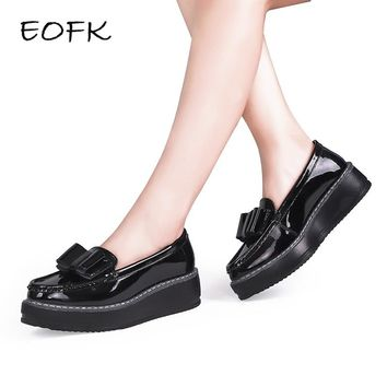 EOFK Women Flats Shoes Woman Black Patent Leather Slip On Bow-knot Casual Loafers Women's Low Bow Flat platform Shoes