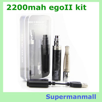 2200mAh EGO II Dual Coil H2  Kit  EGO 2 Battery ego battery e cigarette  GS H2 atomizer clearomizer ego atomizer e cig ecigs
