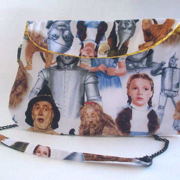 The Wizard of Oz Clutch Purse with Chain Strap / Scarecrow / Cowardly Lion/ Yellow Brick Road