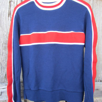 70s Red and Blue Ski Sweater, Men's S-M Women's M // Striped Knit Sweater // Vintage Jumper