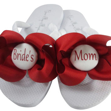 Red Bows with White/many colors/  Bride's Mom Flip Flops for the Wedding