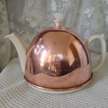 Vintage Copper Cozy Teapot, England, Mid Century Shabby Cottage Kitchen Display, Collectible Pottery