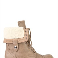 Faux Leather Short Combat Boots with Sherpa Trim