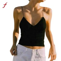Feitong Summer Style Women Knitted Crop Tops V Neck Backless Spaghetti Strap Cami Tank Tops Tee Shirt regata feminina 2018