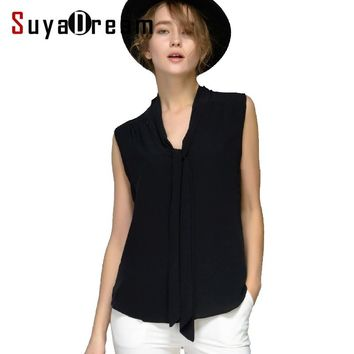 Women Silk blouse 100% REAL silk blouse Bow Sleeveless Solid shirt Women chiffon blouse Spring Summer 2017 new