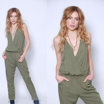Vintage 90s Green Jumpsuit Sleeveless ARMY Green Jumpsuit RELAXED Fit Long Romper