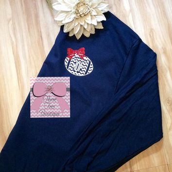 Monogram Chevron Football with Glitter Bow Long Sleeve T-Shirt Monogram Football Mom T-Shirt Football Girlfriend Shirt Monogrammed Gifts
