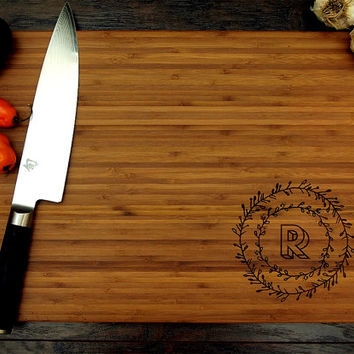 Personalized Cutting Board (Pictured in Amber), approx. 12 x 16 inches, Hand Drawn Corner Wreath Initial - Wedding gift, Housewarming gift,