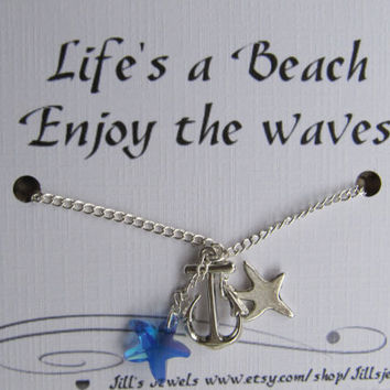 Anchor Beach Charm Necklace and Inspirational Quote Inspirational Card- Bridesmaids Gift - Friends Forever - Quote Gift