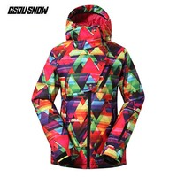 GSOU SNOW Brand Skiing Jackets Ladies Snowboarding Snow Coat Women Mountain Skiing Clothes Winter Ski Snowboard Hooded Outwear