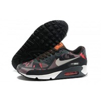 Men s Women s Nike Air Max 90 Premium Tapes Red Camo Dark Grey Running Shoes