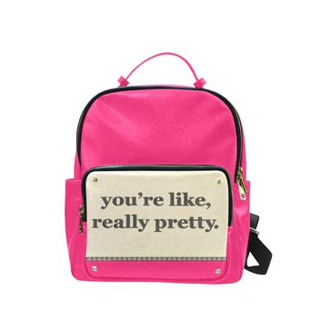 Pink Backpack You Are Like Really Pretty Bag