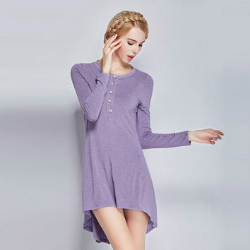 Free Shipping 2017 Womens Spring Autumn Plus Size Knitted Cotton Nightgown Sleepwear Solid Long Sleeves Sleep/Night/Lounge Dress