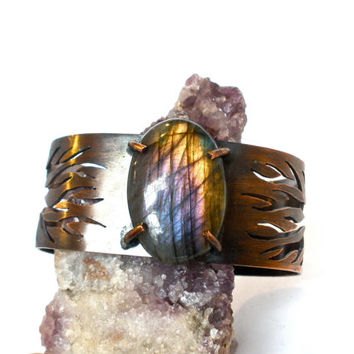 Purple and Gold Labradorite and Copper Cuff Bracelet, Hand Cut With Bare Tree Details- Prong Set Stone Cuff- Labradorite Cuff