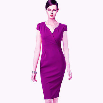 Women's OL V Neck Short Sleeve Dress Ladies Formal Party Wiggle Fitted Shift Pencil Dresses