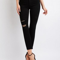 Refuge Destroyed High Waist Skinny Jeans | Charlotte Russe