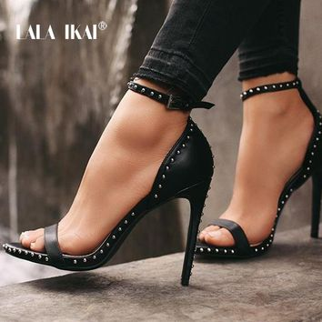 LALA IKAI Women Leather Rivet High Heels Female Shoes Sexy Ankle Summer Shoes Peep Toe Sandal sandalia feminina 014C1845 -49