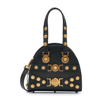 Top Handle Embellished Leather Bag - Versace | WOMEN | KR STYLEBOP.COM