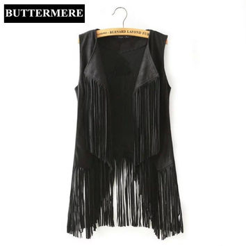 Fringe Suede Vest Women Faux Leather Sleeveless Jacket Tassel Ethnic Waistcoat Black Brown Chalecos Mujer Casual Ladies Clothing