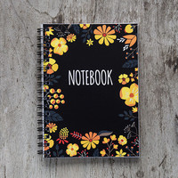 Flower notebook, spiral notebook journal, lined notebook, pocket notebook, blank book pages, travel accessories, spring floral art