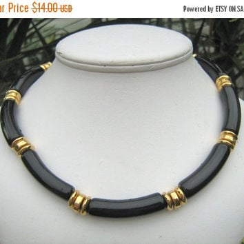 SALE Vintage Napier black beaded necklace