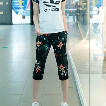 """Adidas"" Women Casual Letter Butterfly Print Short Sleeve Short Trousers Set Two-Piece Sportswear"