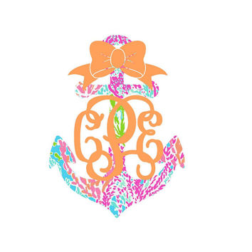 Lilly Pulitzer Anchor Monogram Decal for Yeti's, Cars, Laptops, and More! Lilly Monogram - Lilly Inspired - Monogram Sticker - Anchor Bow