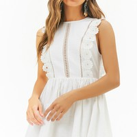 Linen-Blend Embroidered Lace Mini Dress