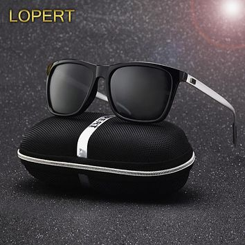 LOPERT Polarized AluminumTR90 Men Sunglasses Brand Designer Fashion Women Men Vintage Eyewear Driving Sun Glasses For Men UV400