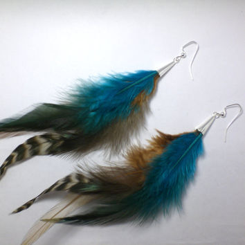 Feather Earrings Long Chocolate Brown Feather Turquoise by donaarg