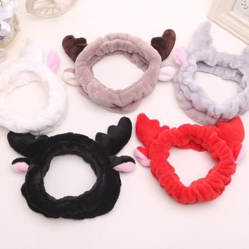 Facial Mask Hair Band Christmas Deer Horn SPA Wash Face Makeup Women Lovely Antlers Hair Band Cartoon Soft Headbands