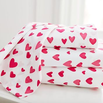 MayBaby Painted Hearts Sheet Set