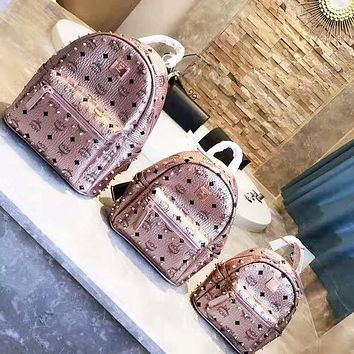 MCM stylish new printed rivet backpacks are hot sellers for women's casual backpacks