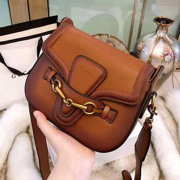 GUCCI High Quality Fashionable Women Shopping Retro Leather Cowhide Shoulder Bag Crossbody Satchel