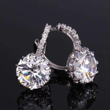 ON SALE - Diamond CZ Solitaire Hoop Earrings In White Or Yellow Gold