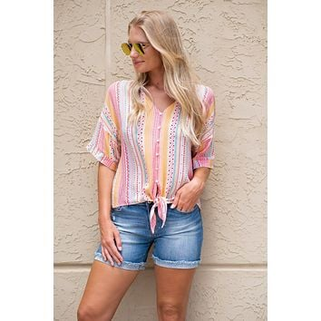 Fun and Free Front Tie Top: Multi