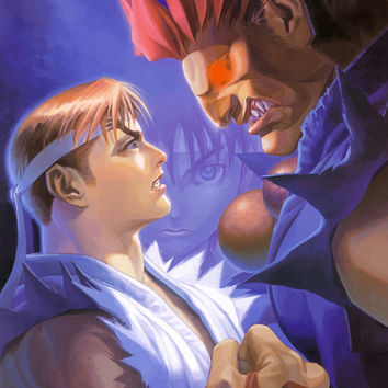 Street Fighter Alpha 2 Ryu Akuma Video Game Poster 18x24