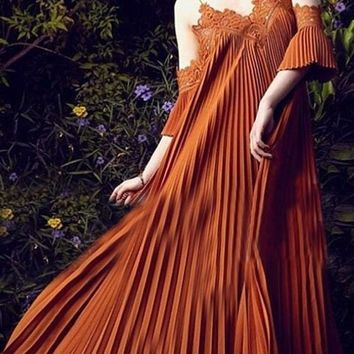 Orange Patchwork Ruffle Lace V-neck Fashion Maxi Dress