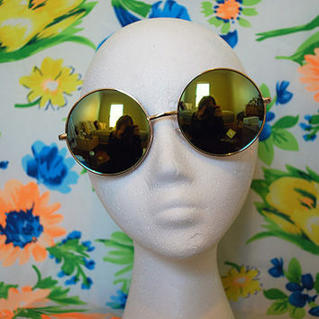 Oversized Round Sunglasses Vintage Gold Hippie Circle Mirrored Sunglasses Retro Round Glasses - Janis