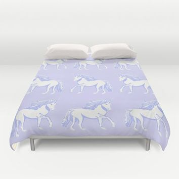 Lavender and White Unicorns Pattern Duvet Cover by Artist Abigail