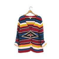 Southwestern Cardigan 90s Button Up Sweater Colorful 1990s Bohemian Aztec Tribal Striped Knit Shirt Vintage Womens Extra Large XL