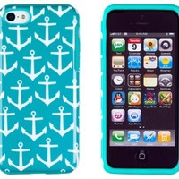 DandyCase 2in1 Hybrid High Impact Hard Nautical Anchor Pattern + Silicone Case Case Cover For Apple iPhone 5C (not iPhone 5/5S) + DandyCase Screen Cleaner