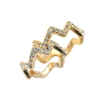 Crystal Zigzag Ring and Midi Ring Set of 2