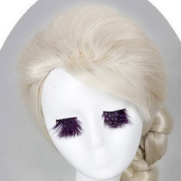 Xcoser Frozen Cosplay Elsa Wig Party Hair Tails Hair Style