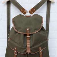 Canvas Rucksack In Olive Green With Leather Trim