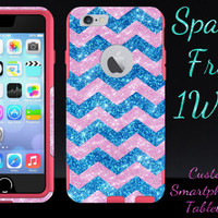 "iPhone 6/6 Plus OTTERBOX Case - Otterbox Commuter Glitter Case for 4.7"" iPhone 6/6 Plus - Light Pink/Peacock/Pink Small Chevron Glitter"