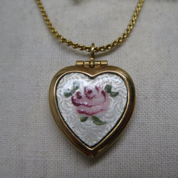 Rose Flower Pink Heart Locket Necklace Gold Guilloche Vintage Pendant Enamel